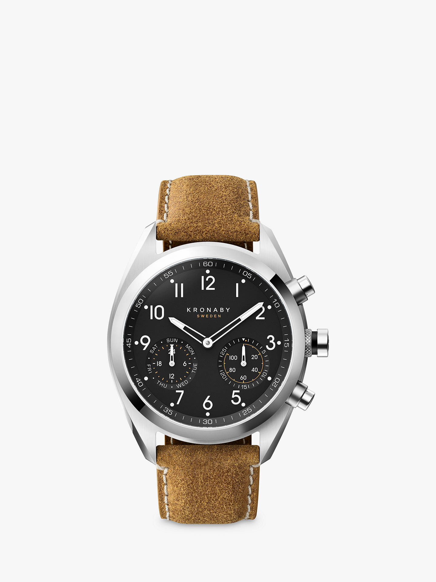 f3fb02e7f Buy Kronaby Connected A1000-3112 Men's Apex Leather Strap Smartwatch,  Tan/Black Online ...