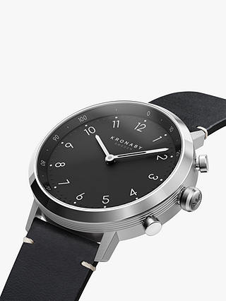 Buy Kronaby Connected A1000-3126 Unisex Nord Leather Strap Smartwatch, Black Online at johnlewis.com