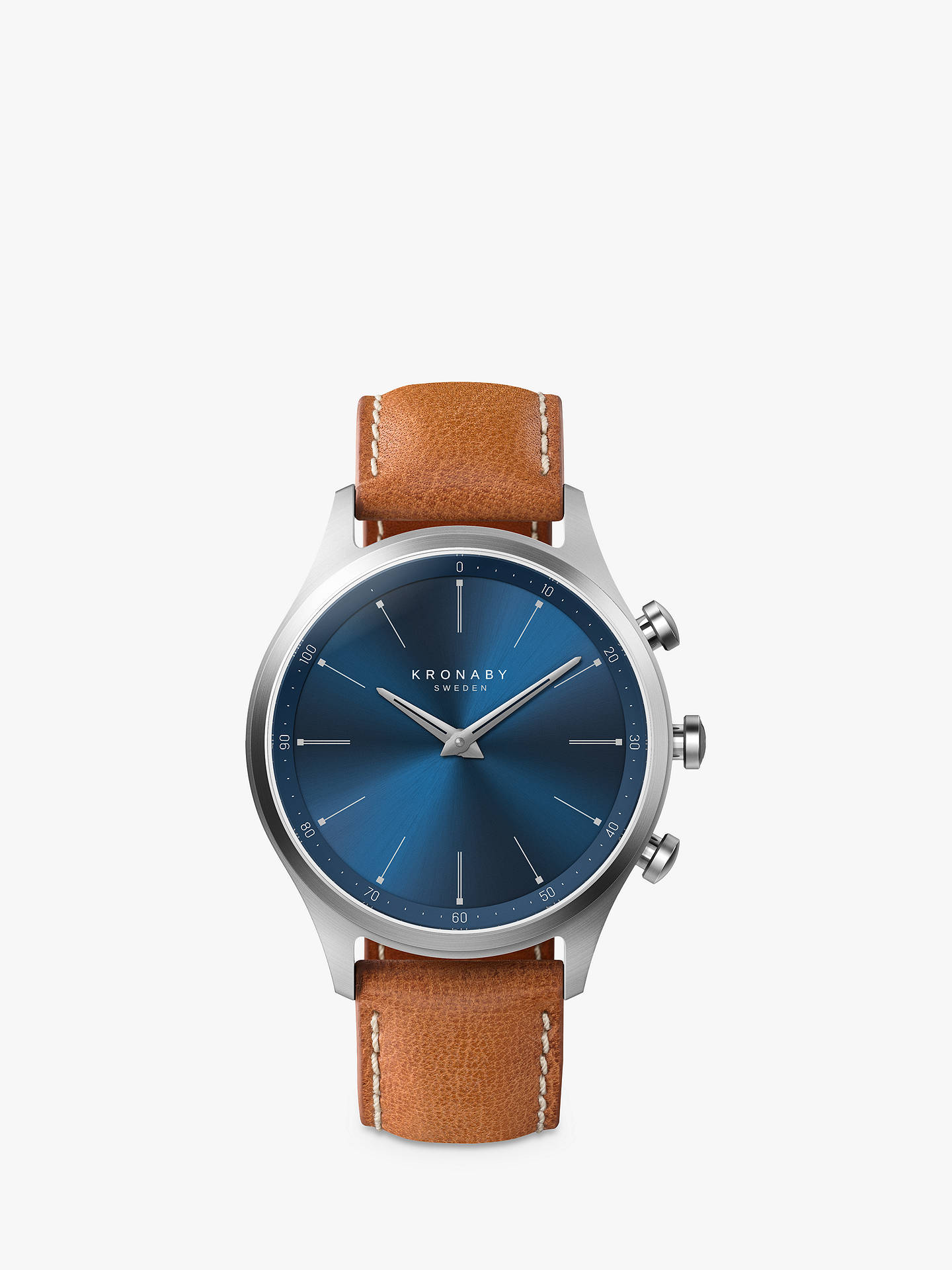 Buy Kronaby Connected A1000-3124 Men's Sekel Leather Strap Smartwatch, Tan/Blue Online at johnlewis.com