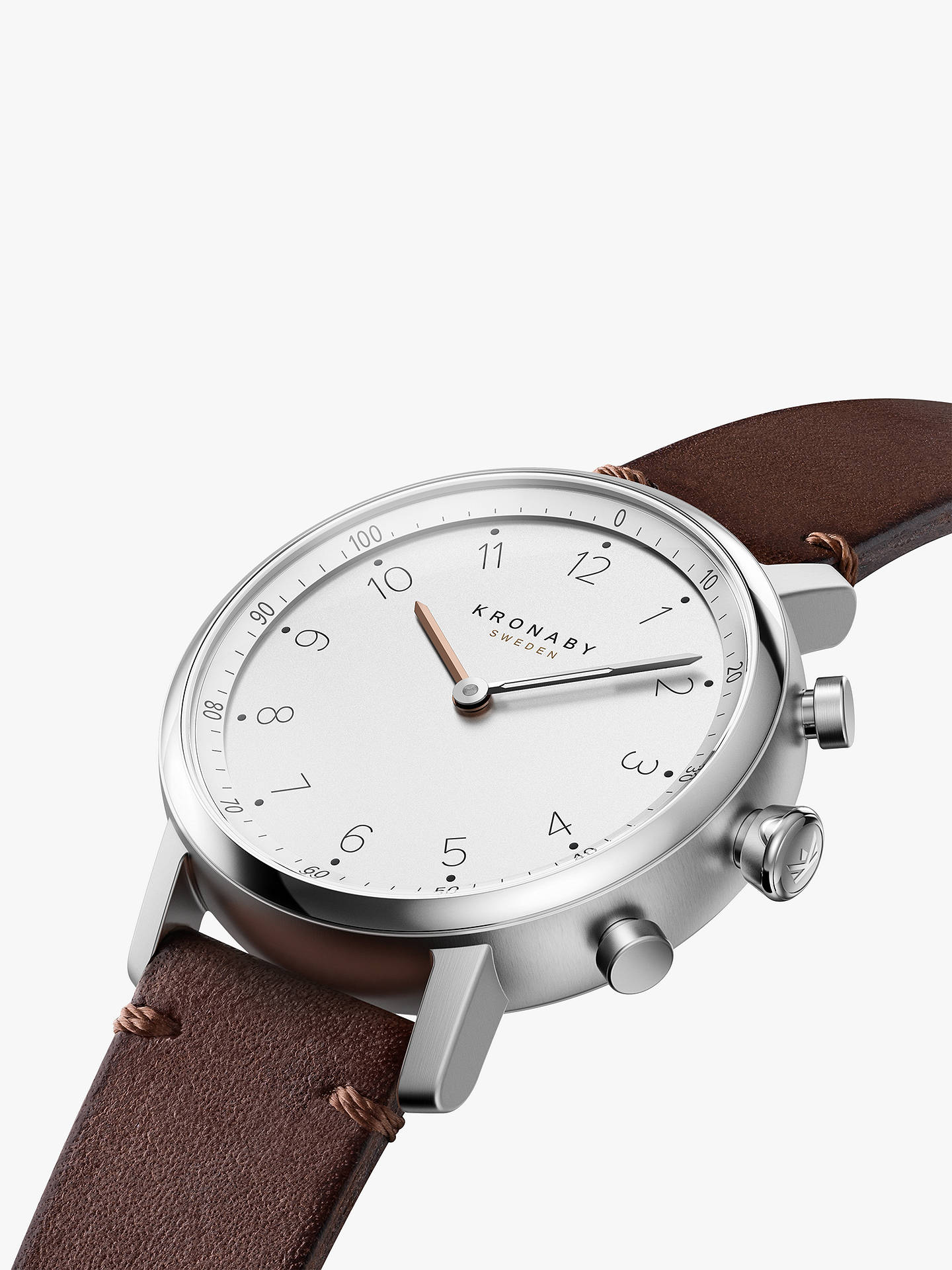 Buy Kronaby Connected A1000-0711 Unisex Carat Leather Strap Smartwatch, Dark Brown/White Online at johnlewis.com