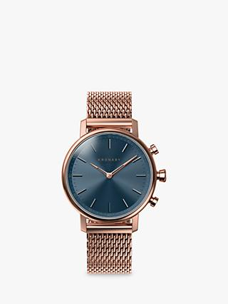 Kronaby Connected Women's Carat Milanese Bracelet Strap Smartwatch, Rose Gold/Blue A1000-0668