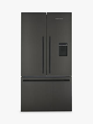 Fisher & Paykel RF540ADUB5 American Style Freestanding 72/25 Fridge Freezer, A+ Energy Rating, Wide 90cm, Black Steel