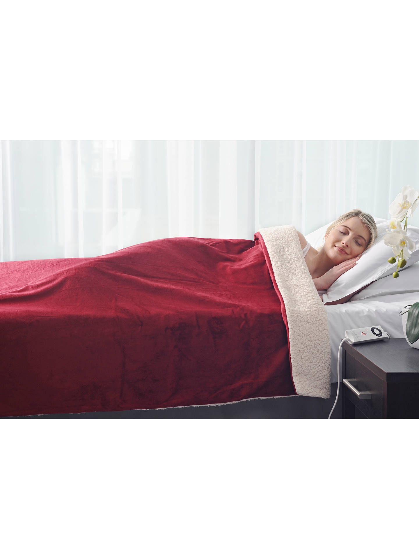 Buy Dreamland Intelliheat Sherpa Heated Throw, Red Online at johnlewis.com