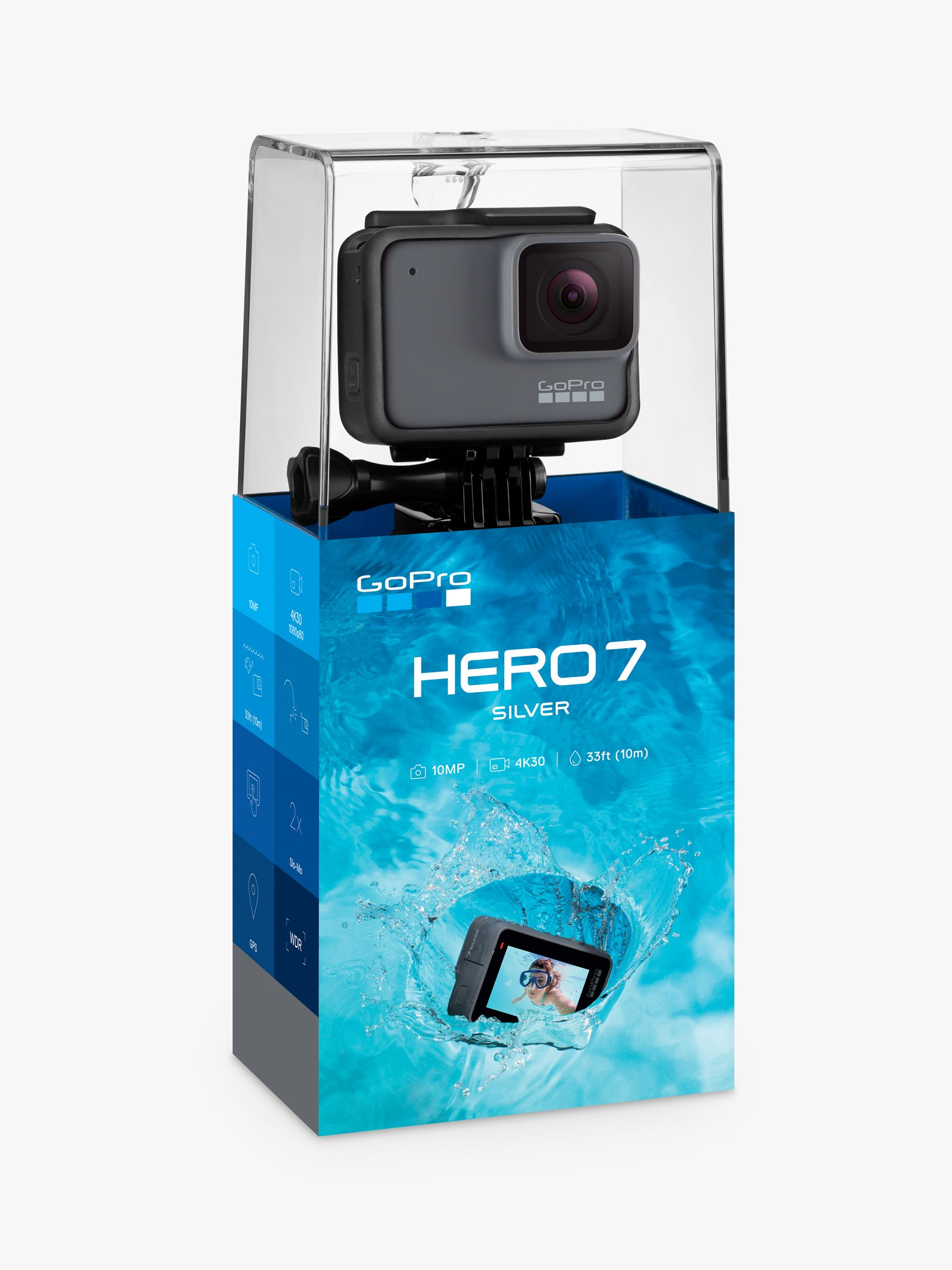 Gopro GoPro HERO7 Silver Camcorder, 4K Ultra HD, 30 FPS, 10MP, Wi-Fi, Waterproof, GPS