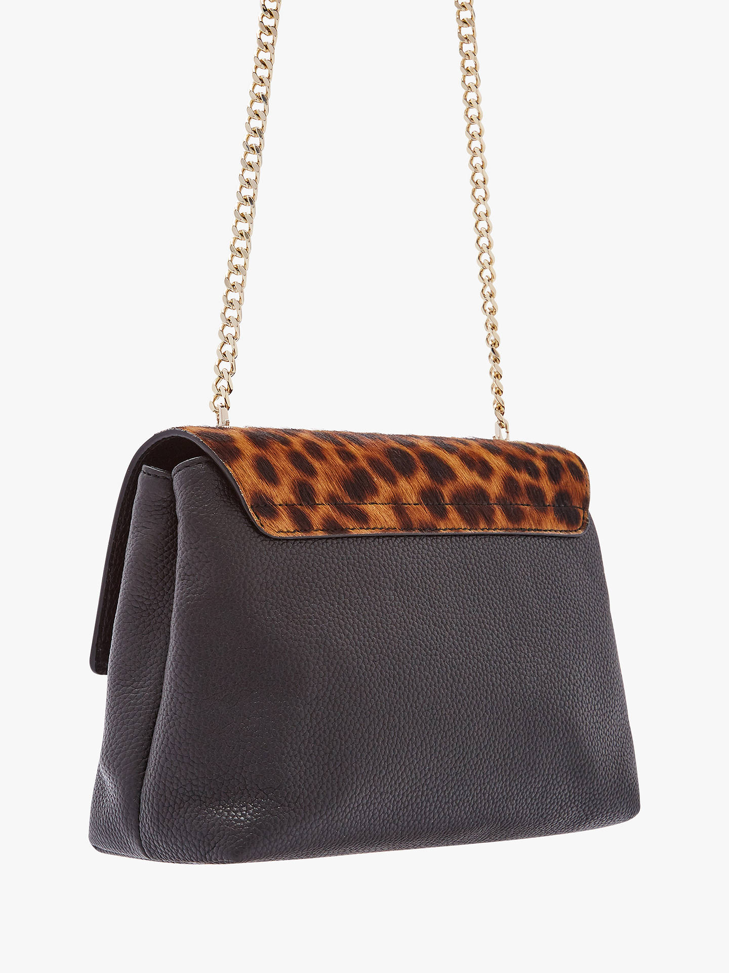 Buy Ted Baker Luccie Lock Detail Leather Cross Body Bag, Leopard/Black Online at johnlewis.com
