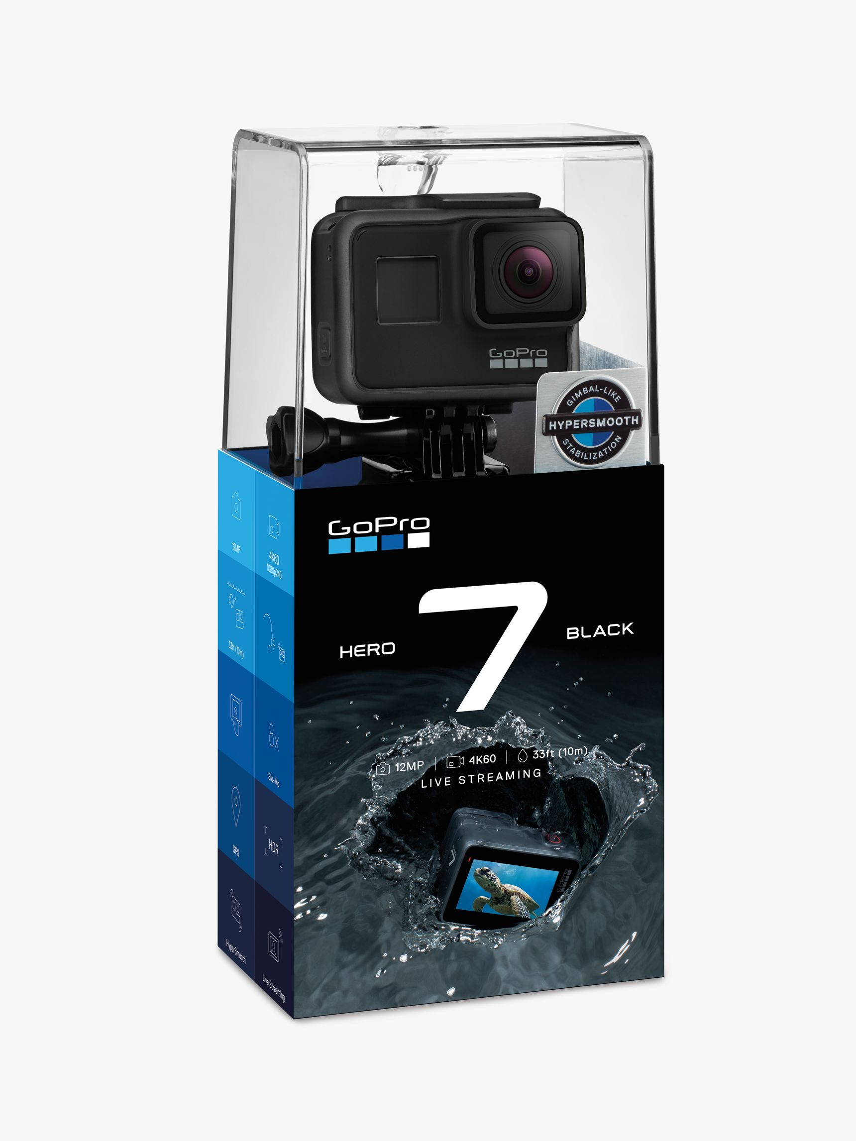 Gopro GoPro HERO7 Black Camcorder, 4K Ultra HD, 60 FPS, 12MP, Wi-Fi, Waterproof, GPS