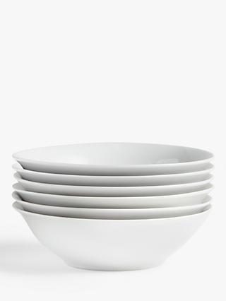House by John Lewis Porcelain Cereal Bowls, 18cm, Set of 6, White