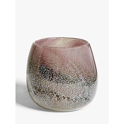 John Lewis & Partners Marble Finish Glass Vase, Pink, H12.7cm