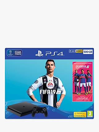 Sony PlayStation 4 Slim Console with DUALSHOCK 4 Controller, 500GB, Jet Black and FIFA 19 Bundle