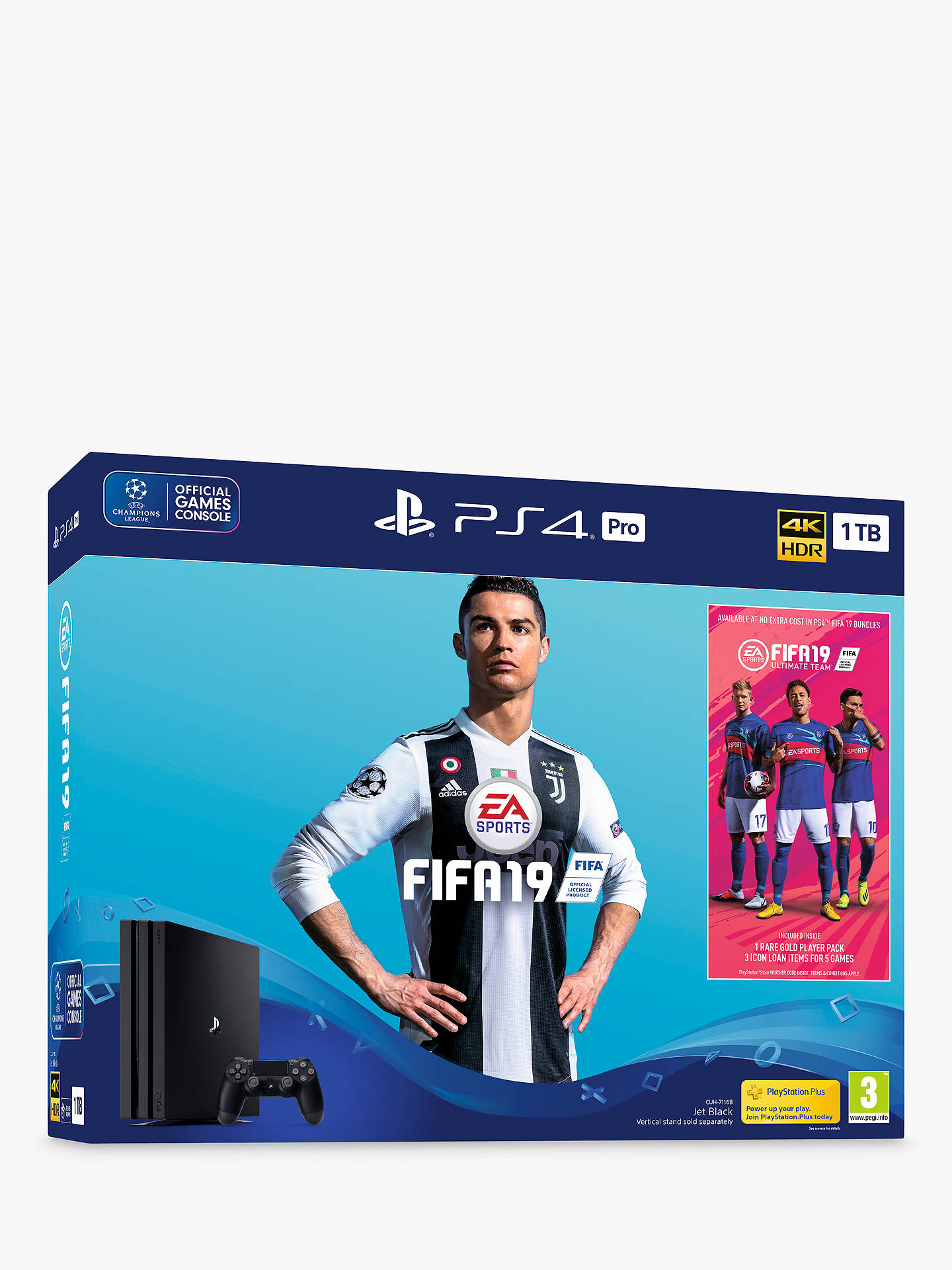 BuySony PlayStation 4 Pro Console, 1TB, with DualShock 4 Controller, Jet Black and FIFA 19 Bundle Online at johnlewis.com