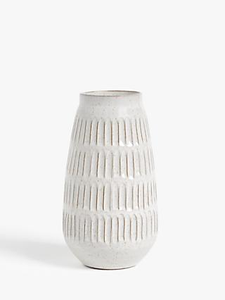 John Lewis & Partners Carved Terracotta Rustic Medium Vase, White, H25cm