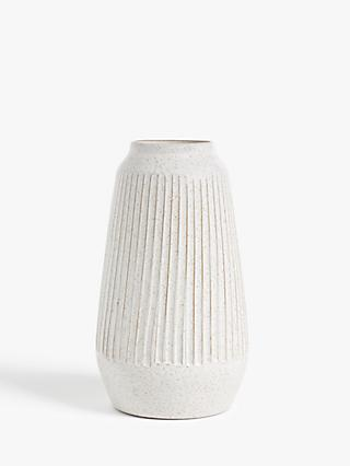 John Lewis & Partners Carved Terracotta Rustic Large Vase, White, H30cm