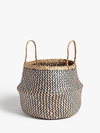 John Lewis & Partners Patterned Seagrass Basket, Blue