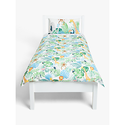 little home at John Lewis Safari & Friends Reversible Duvet Cover and Pillowcase Set, Single, Multi