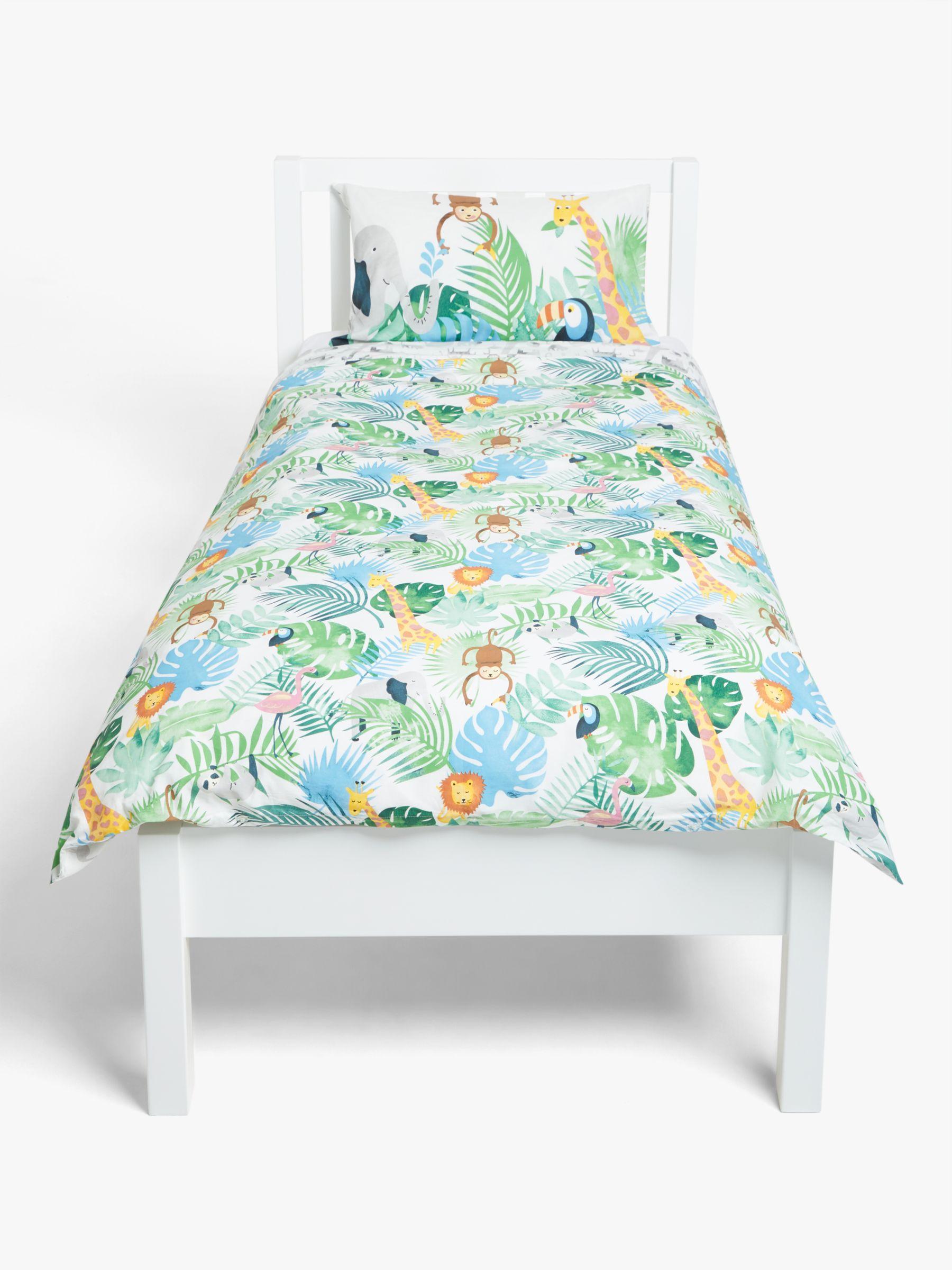 little home at John Lewis Safari & Friends Reversible Cotton Duvet Cover and Pillowcase Set, Single, Multi