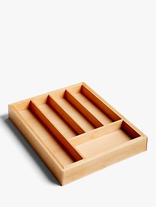 Croft Collection Expandable Wooden Cutlery Tray