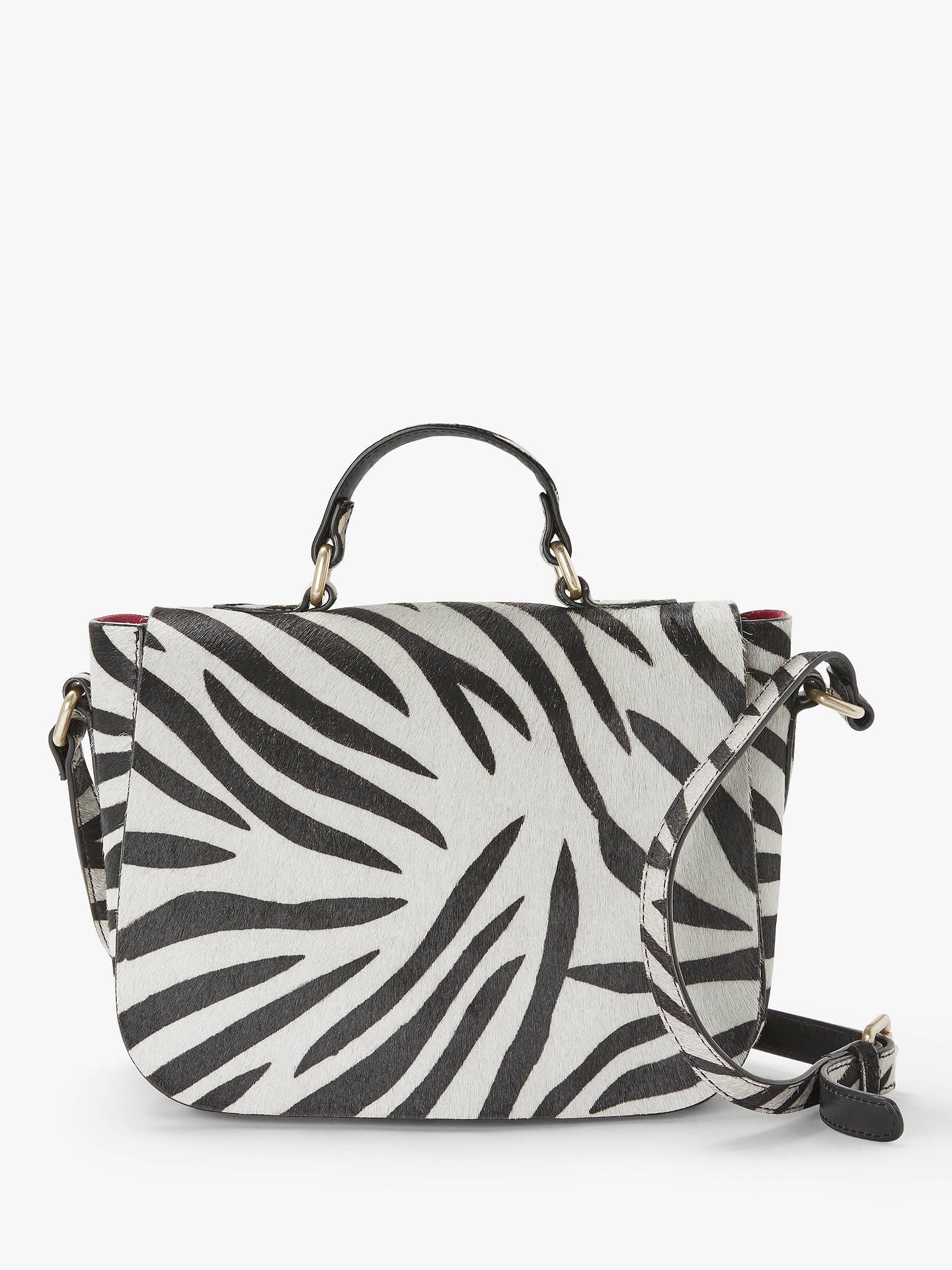And Or Isabella Leather Saddle Bag Zebra Print