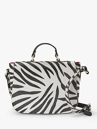 AND/OR Isabella Leather Saddle Bag, Zebra Print