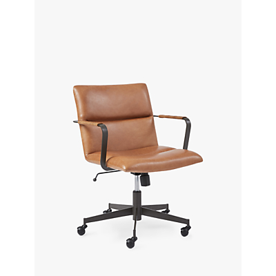 west elm Cooper Mid-Century Leather Office Chair, Tan