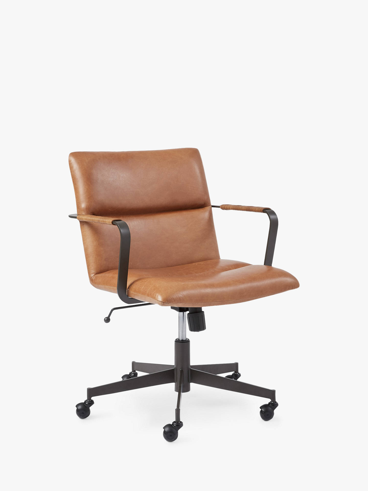 West Elm Cooper Mid Century Leather Office Chair Tan At
