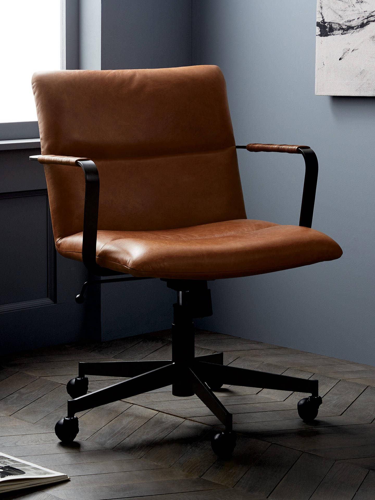 Fantastic West Elm Cooper Mid Century Leather Office Chair Tan Ncnpc Chair Design For Home Ncnpcorg