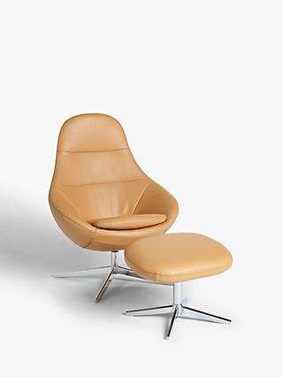 Design Project by John Lewis No.192 Leather Chair with Footstool, Balder Nougat