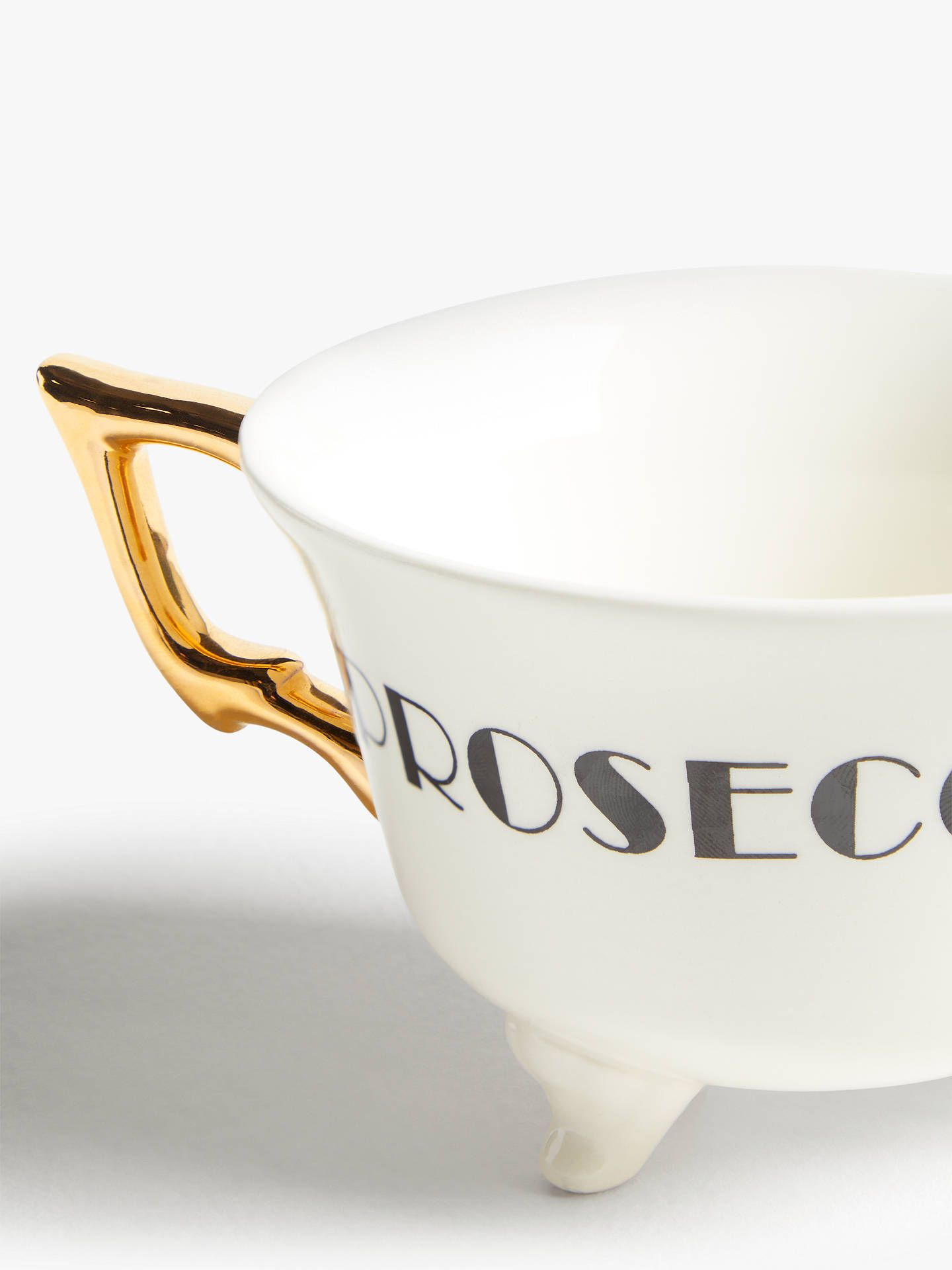 Buy John Lewis & Partners Fusion Gold Handle Prosecco Mug, 300ml, Black/White Online at johnlewis.com