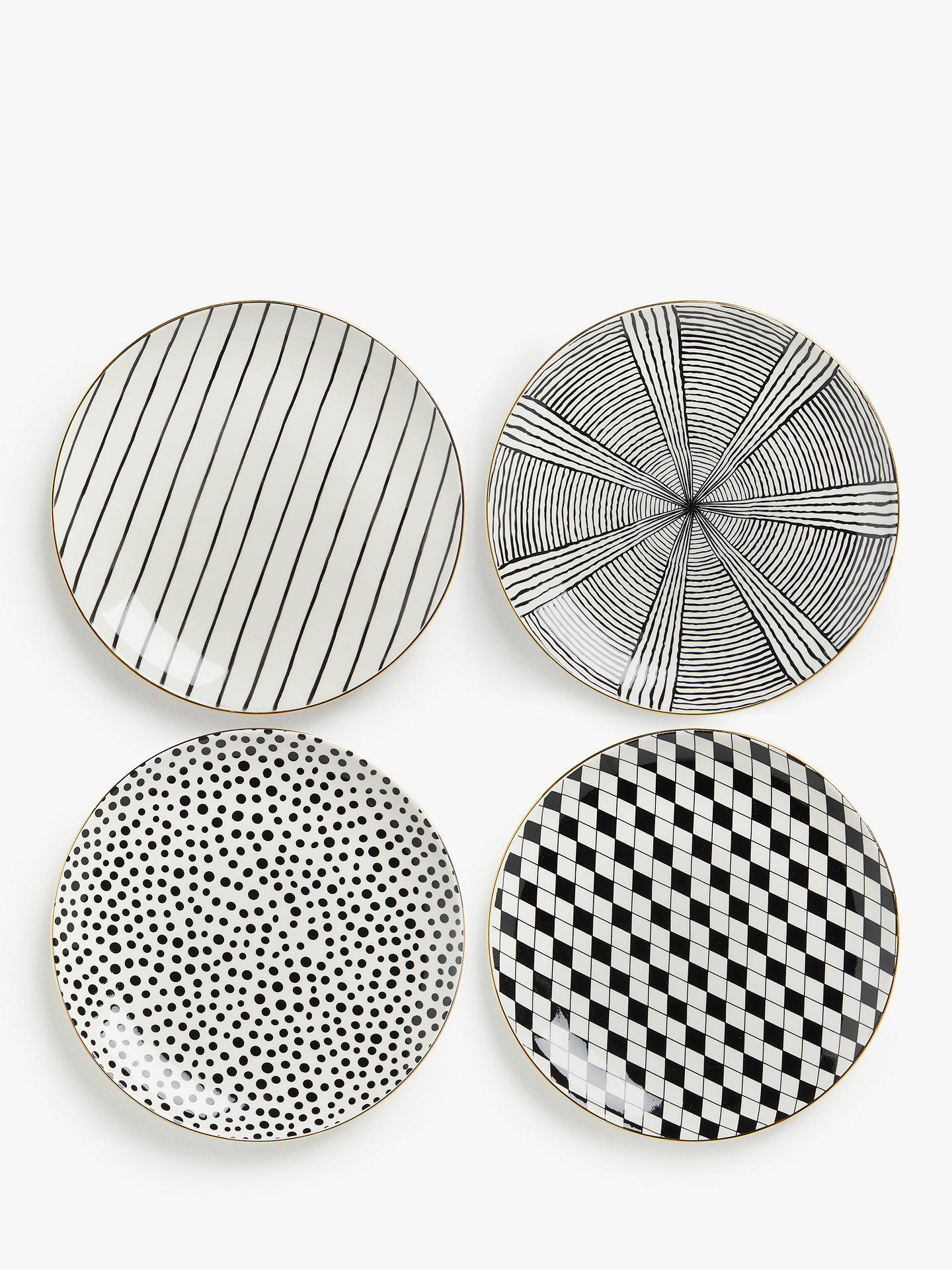 Buy John Lewis & Partners Fusion Gold Edge Patterned Plates, 21cm, Black/White Online at johnlewis.com