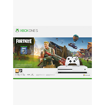 Image of Microsoft Xbox One S Console, 1TB, with Wireless Controller and Fortnite Game Bundle