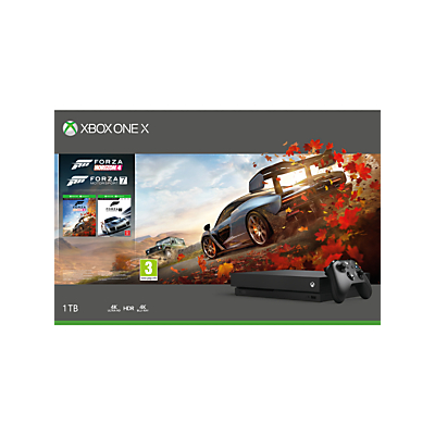 Image of Microsoft Xbox One X Console, 1TB, with Wireless Controller and Forza Horizon 4 + Forza Motorsport 7 Bundle