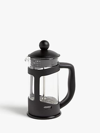 John Lewis & Partners 3 Cup Cafetiere, 350ml, Black/Clear
