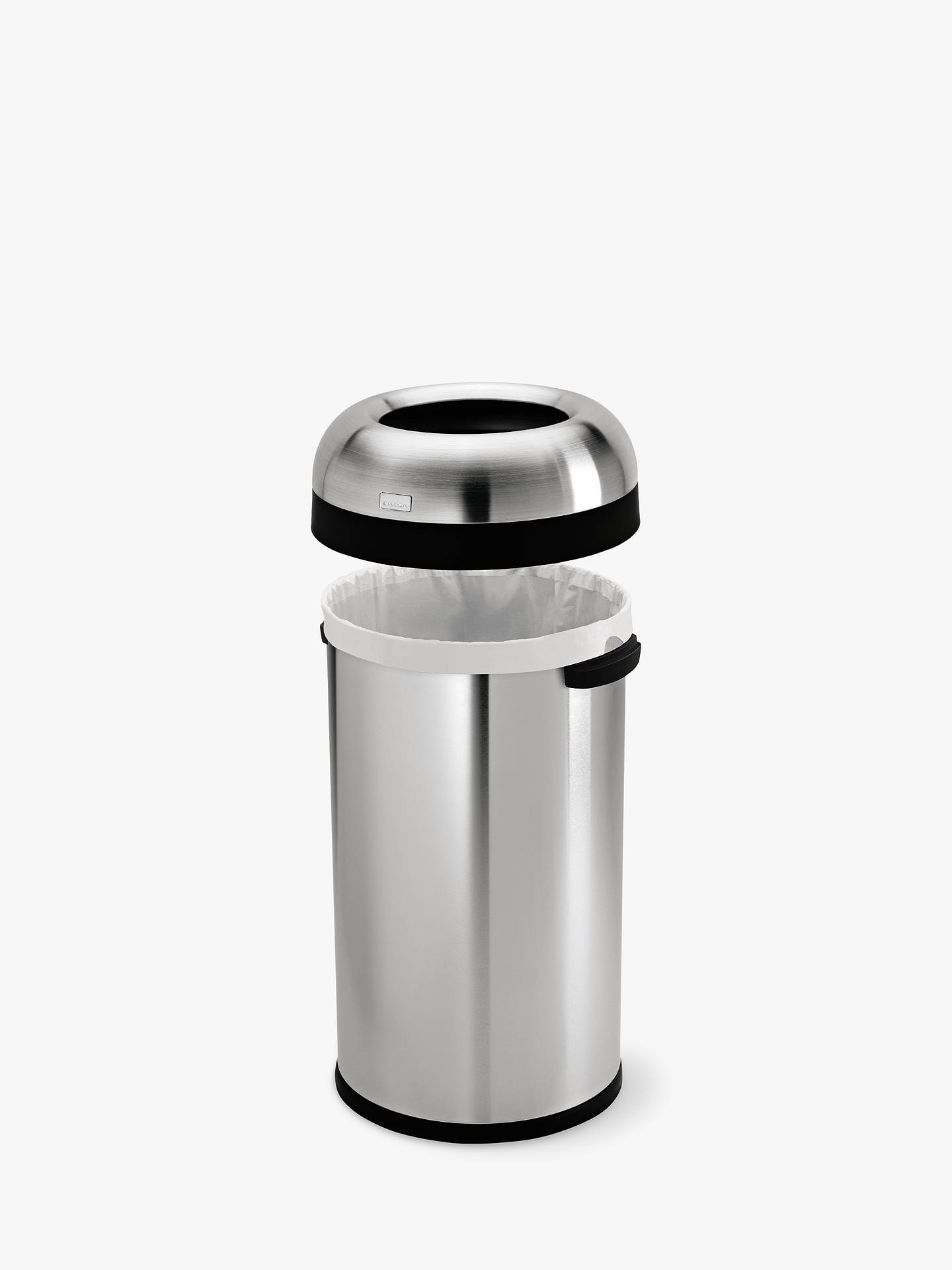 Buysimplehuman Stainless Steel Open Bin, 60L Silver Online at johnlewis.com