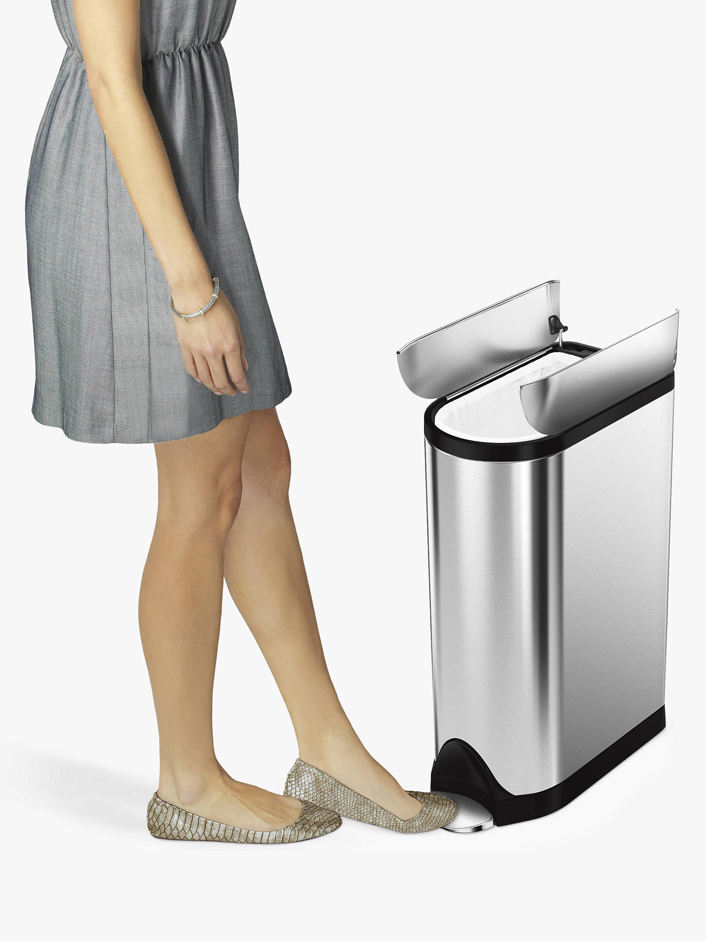 Buy simplehuman Butterfly Pedal Bin, Brushed Stainless Steel, 18L Online at johnlewis.com