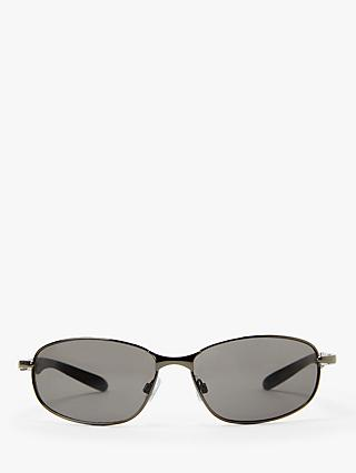 John Lewis & Partners Men's Metal Sports Wrap Sunglasses, Gunmetal