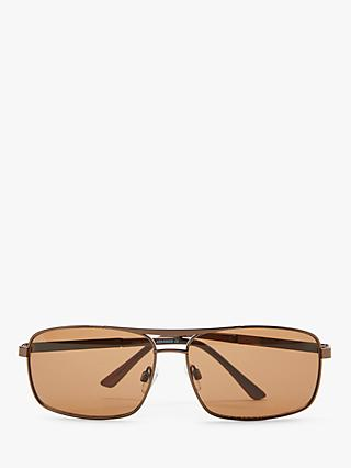 John Lewis & Partners Men's Metal Sports Wrap Sunglasses, Brown