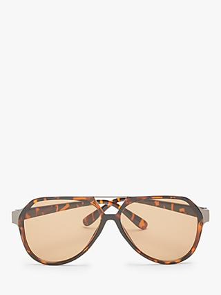 John Lewis & Partners Unisex Flat Aviator Sunglasses, Tortoise/Brown