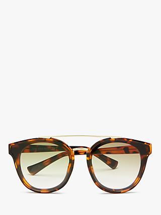 John Lewis & Partners Women's Metal Bridge Preppy Round Sunglasses, Tortoise/Clear
