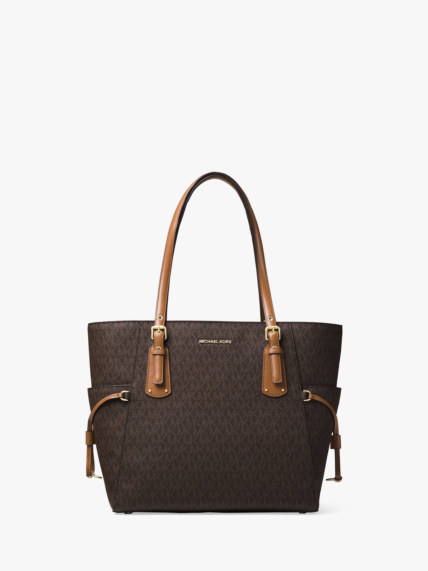 4e9d265f2f44 Buy MICHAEL Michael Kors Voyager East West Signature Tote Bag, Brown Online  at johnlewis.