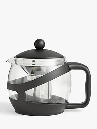 ANYDAY John Lewis & Partners 5 Cup Glass Teapot with Filter, 1.2L, Clear/Black