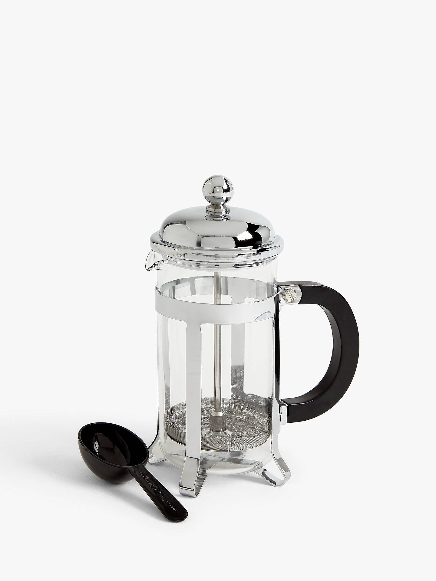 John Lewis Partners Classic 3 Cup French Press Cafetiere 350ml Chrome