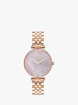 Olivia Burton OB16AM152 Women's Queen Bee Bracelet Strap Watch, Rose Gold/Mother of Pearl
