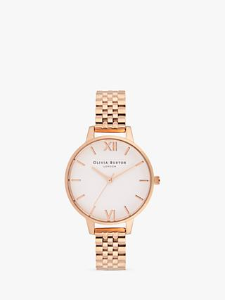 Olivia Burton OB16DEW01 Women's White Dial Bracelet Strap Watch, Rose Gold/White
