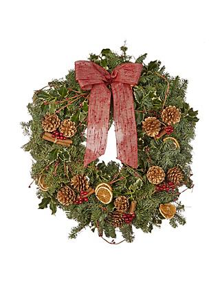 john lewis partners real traditional red christmas wreath
