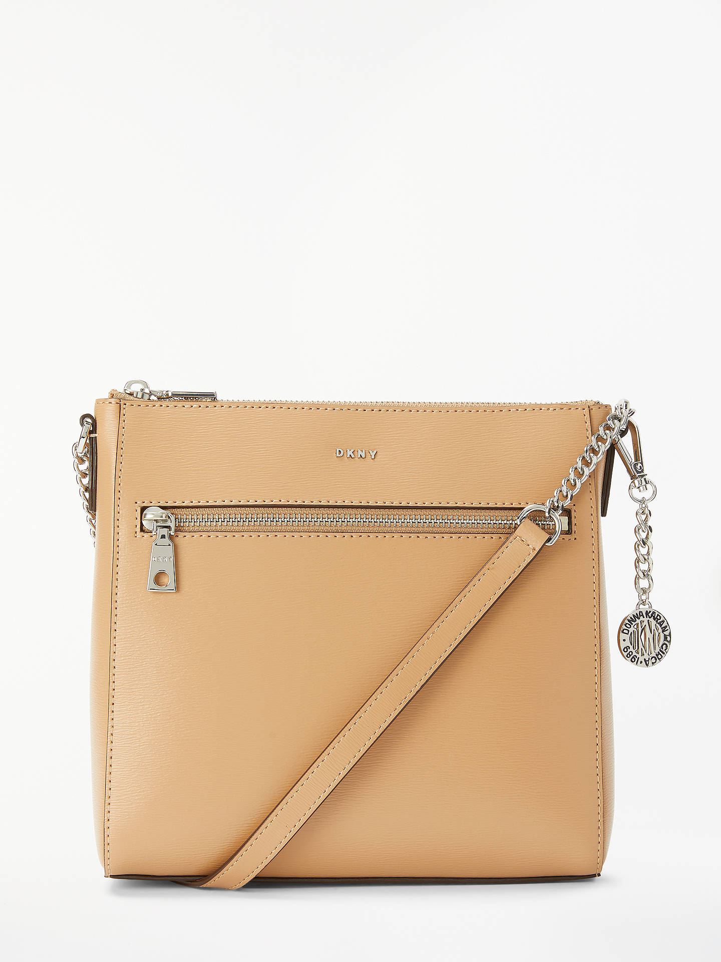 87978afc01 Buy DKNY Bryant Leather Large Zip Top Cross Body Bag, Camel Online at  johnlewis.