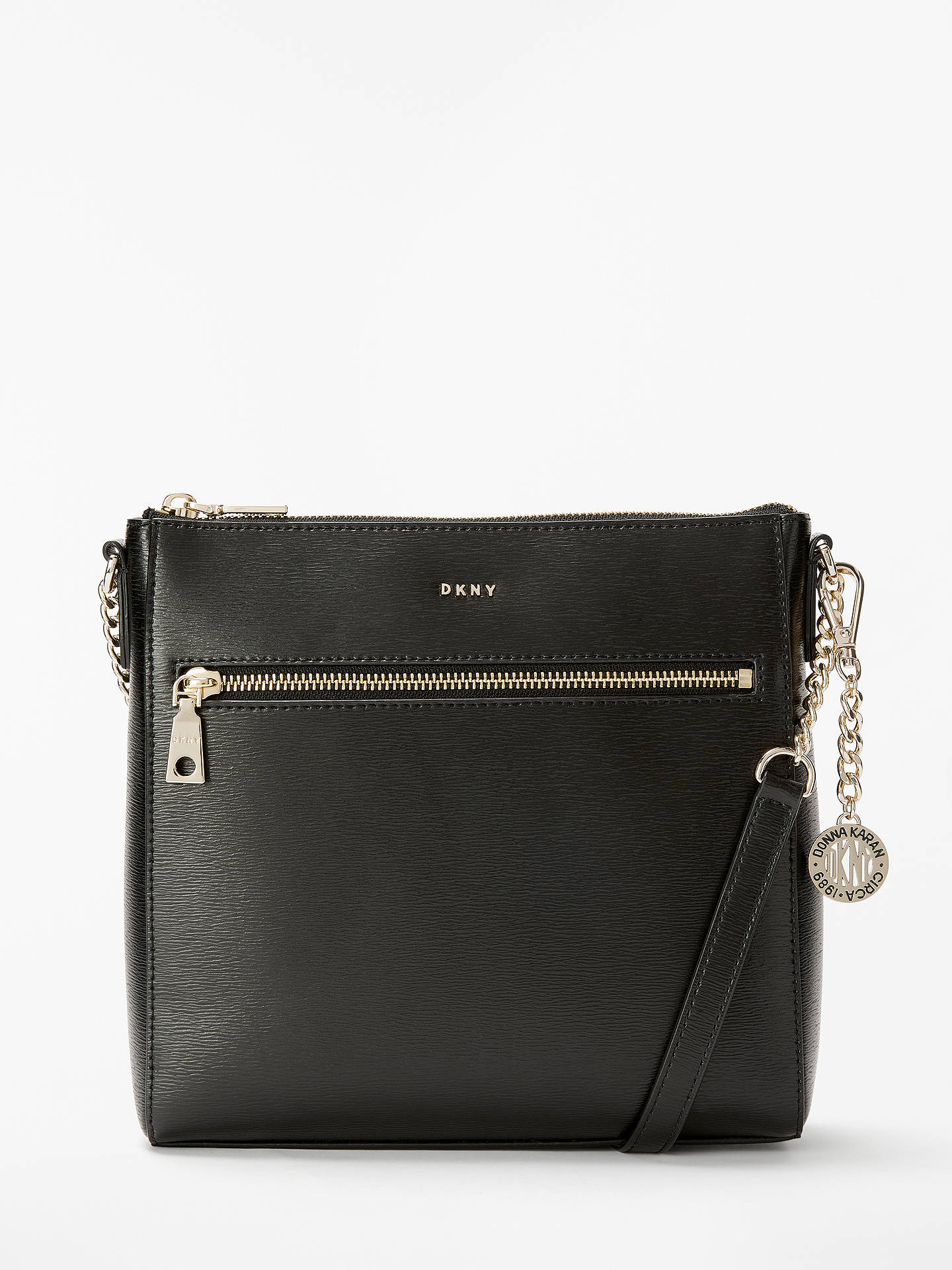 8bef759ba Buy DKNY Bryant Leather Large Zip Top Cross Body Bag, Black Online at  johnlewis.