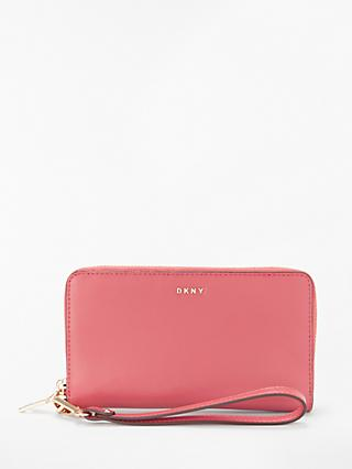 DKNY Bryant Leather Zip Around Wristlet Purse, Blush