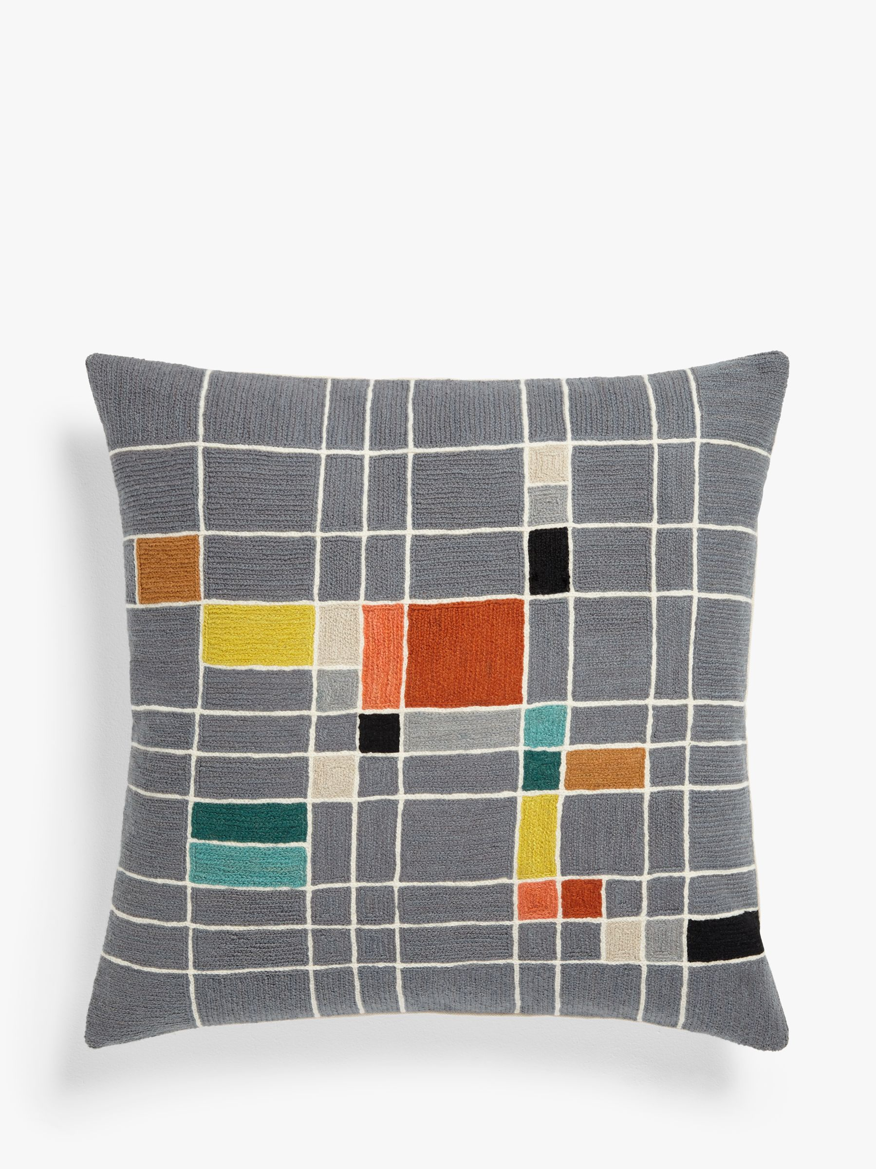 John Lewis & Partners Isak Grid Square Cushion, Multi