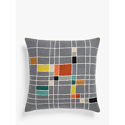 John Lewis & Partners Isak Grid Square Cushion, Multi