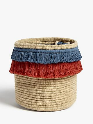 John Lewis & Partners Fusion Jute Storage Basket with Fringe