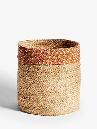 John Lewis & Partners Fusion Jute Storage Basket with Circular Band